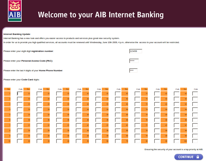 AIB Phishing form